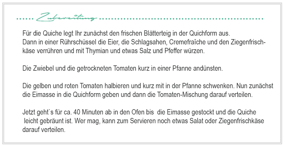 amitades.blog | Rezept Tomaten-Ziegenkäse-Quiche
